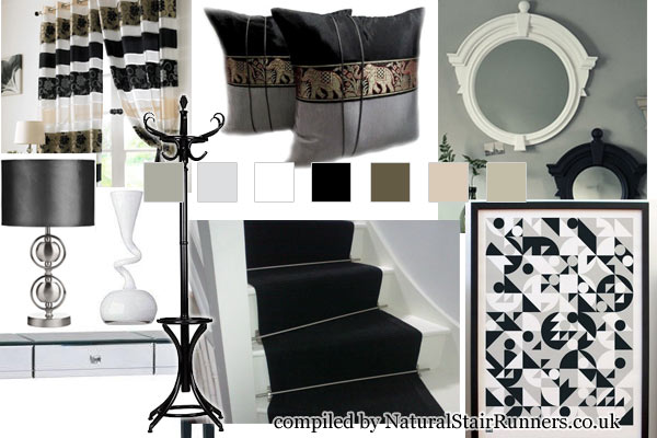 A Black/White Monochrome Look with out Black Sisal Carpet