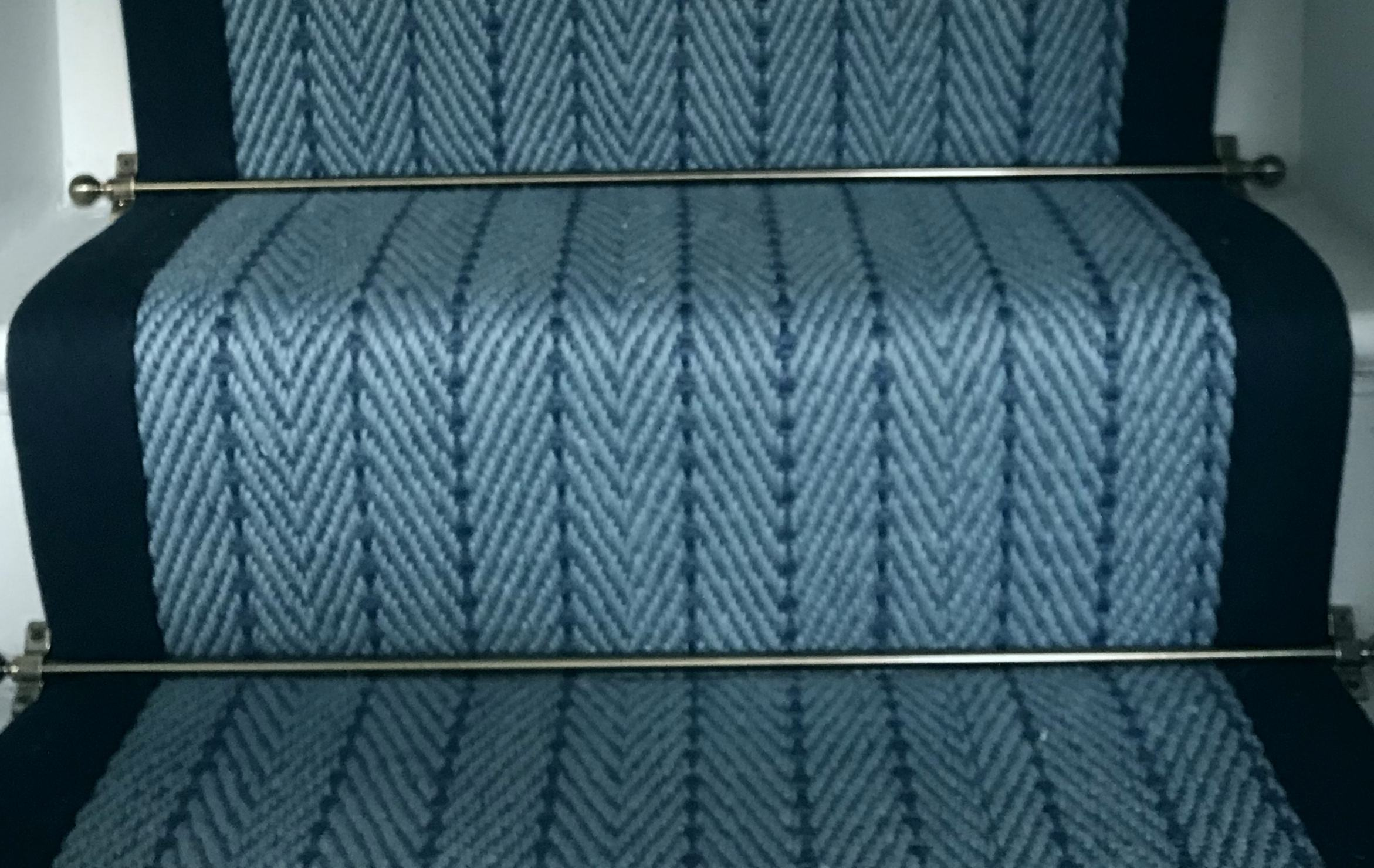 herringbone blue close up