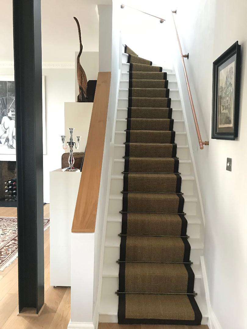 Sisal Gold Striped Border Stair Runner Carpet